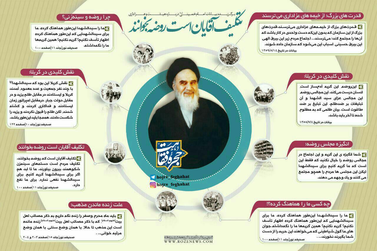عکس نوشته | گزیده بیانات امام خمینی قدس سره در مورد عزاداری و هیئات